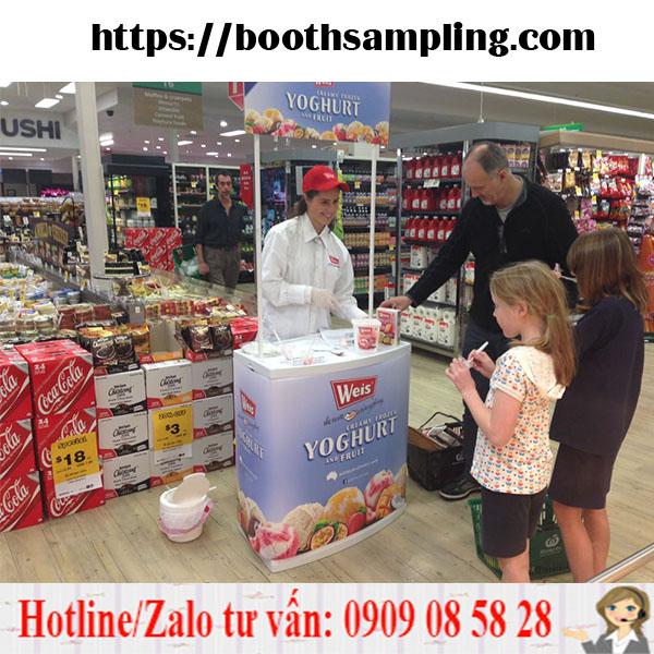 booth ban hang sampling nhua