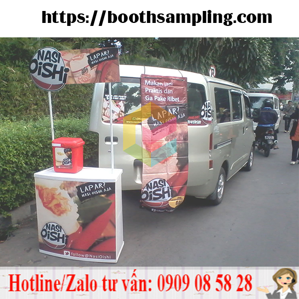 san xuat booth ban hang sampling