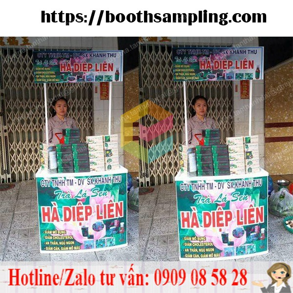 booth nhua quang cao sampling