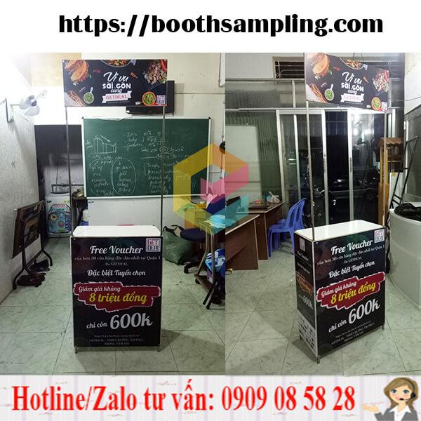 booth sampling quang cao